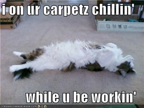 i on ur carpetz chillin'  while u be workin'