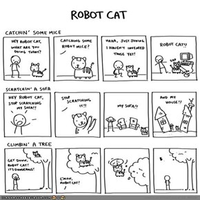 Kitteh Komic of teh Day: Robot Cat