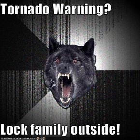 Tornado Warning?  Lock family outside!