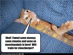 Ohai!  Fownd some moneyz, some cheetos and some un menshunabulz in here!  Will trade for cheezburger?