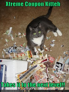 Xtreme Coupon Kitteh  Takes it to the next level!!
