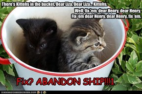 There's Kittehs in the bucket, Dear Liza, Dear Liza... Kittehs.