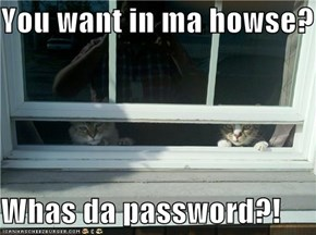 You want in ma howse?  Whas da password?!