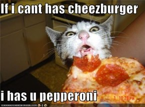 If i cant has cheezburger  i has u pepperoni