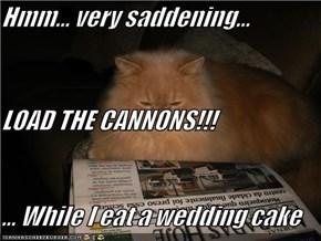 Hmm... very saddening... LOAD THE CANNONS!!! ... While I eat a wedding cake