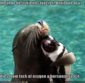 We'll be best friends forever! Until one of us  dies from lack of oxygen & personal space