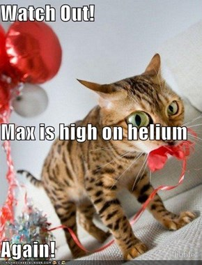 Watch Out! Max is high on helium Again!