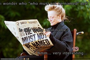 "i wonder who ""who must not be named"" be? is that really their name? hmm... very interesting..."