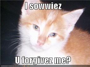 I sowwiez  U forgivez me?