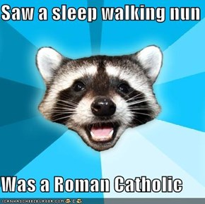 Saw a sleep walking nun  Was a Roman Catholic
