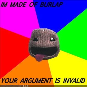 IM MADE OF BURLAP  YOUR ARGUMENT IS INVALID