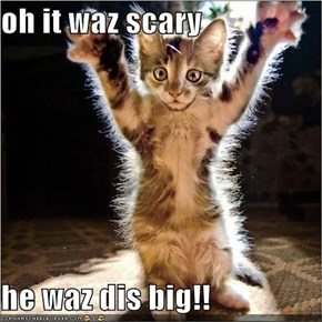 oh it waz scary  he waz dis big!!
