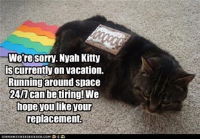 We're sorry. Nyah Kitty is currently on vacation. Running around space 24/7 can be tiring! We hope you like your replacement.