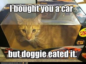 I bought you a car but doggie eated it.