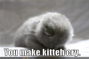 You make kitteh cry.