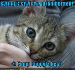 Byting iz stwictwy prohibbitted!  @ Kamp Kuppykakes!