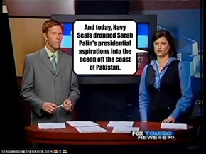 And today, Navy Seals dropped Sarah Palin's presidential aspirations into the ocean off the coast of Pakistan.