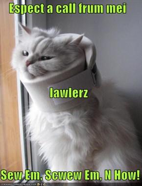 Espect a call frum mei lawlerz Sew Em, Scwew Em, N How!