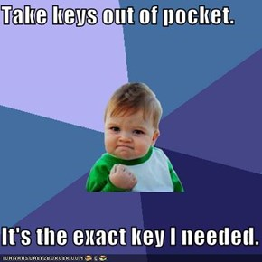 Take keys out of pocket.  It's the exact key I needed.