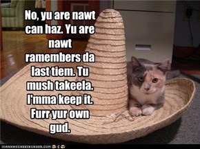No, yu are nawt can haz. Yu are nawt ramembers da last tiem. Tu mush takeela. I'mma keep it. Furr yur own gud.