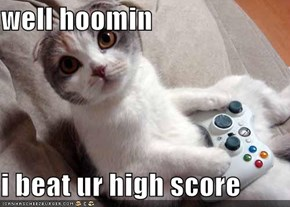 well hoomin  i beat ur high score