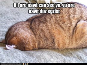 If I are nawt can see yu, yu are nawt duz egzist