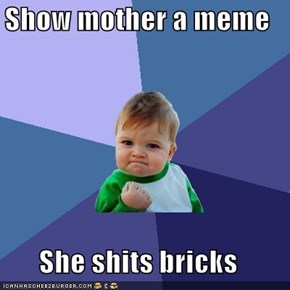 Show mother a meme  She shits bricks