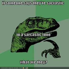 if someone says they're sacrastic  in a sarcastic tone what are they?