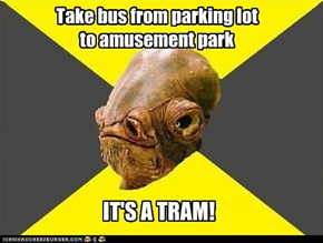 Take bus from parking lot to amusement park