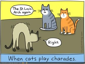 Kitteh Komic of teh Day: Kitteh Charades