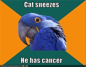 Cat sneezes  He has cancer