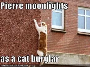 Pierre moonlights  as a cat burglar
