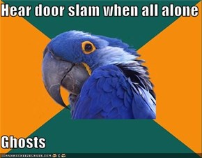 Hear door slam when all alone  Ghosts
