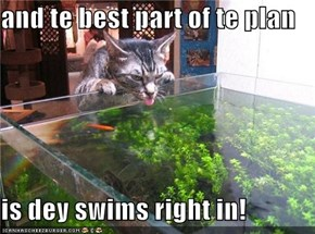 and te best part of te plan  is dey swims right in!