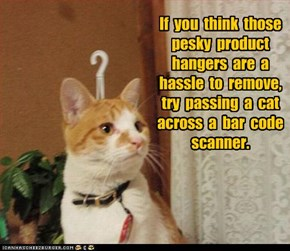 If  you  think  those  pesky  product  hangers  are  a  hassle  to  remove,  try  passing  a  cat  across  a  bar  code  scanner.