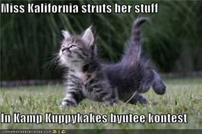 Miss Kalifornia struts her stuff  In Kamp Kuppykakes byutee kontest