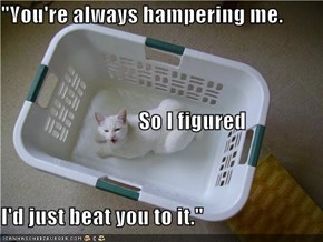"""You're always hampering me.                                 So I figured I'd just beat you to it."""