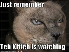 Just remember  Teh Kitteh is watching