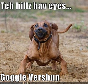 Teh hillz hav eyes...  Goggie Vershun