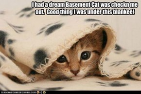I had a dream Basement Cat was checkn me out.  Good thing I was under this blankee!
