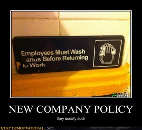 NEW COMPANY POLICY