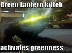 Green Lantern kitteh  activates greenness