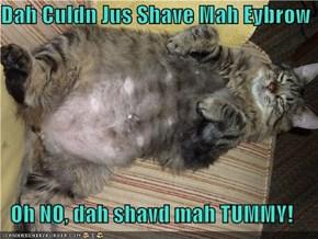 Dah Culdn Jus Shave Mah Eybrow  Oh NO, dah shavd mah TUMMY!