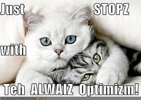 Just                         STOPZ with  Teh  ALWAIZ  Optimizm!