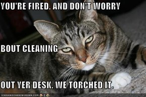 YOU'RE FIRED. AND DON'T WORRY BOUT CLEANING OUT YER DESK. WE TORCHED IT.