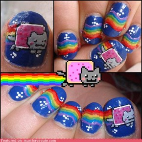 Nyan Cat -nails