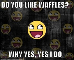 DO YOU LIKE WAFFLES?  WHY YES, YES I DO