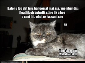 Bafor u lob dat furs balloon at mai ass, 'membur dis; float lik eh buturfli, sting lik a bee u cant hit, whut ur iys cant see