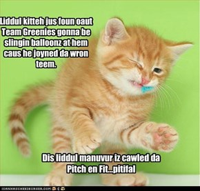 Liddul kitteh jus foun oaut Team Greenies gonna be slingin balloonz at hem caus he joyned da wron teem.