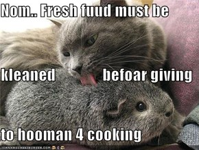 Nom.. Fresh fuud must be kleaned               befoar giving to hooman 4 cooking